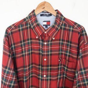 Tommy Hilfiger Men Size XL Shirt Tartan Plaid